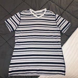 Blue and white striped Lululemon v-neck